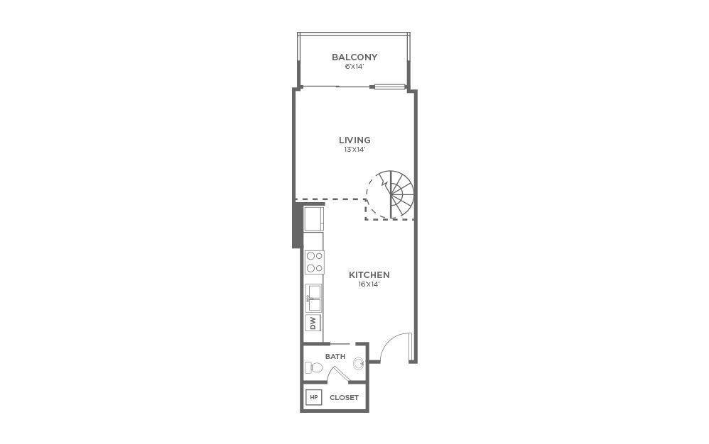 A1 - 1 bedroom floorplan layout with 1.5 bath and 820 square feet. (Floor 1)