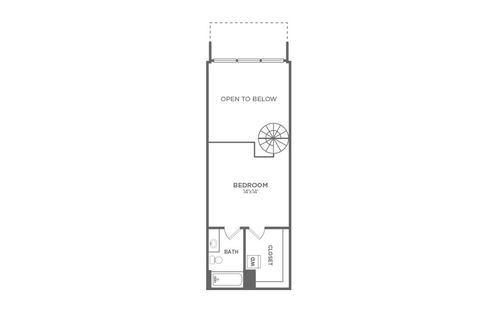 A1 - 1 bedroom floorplan layout with 1.5 bath and 820 square feet. (Floor 2)