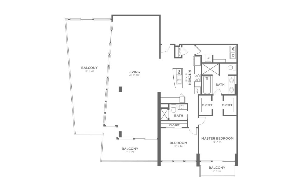 B13 - 2 bedroom floorplan layout with 2 baths and 2021 square feet.
