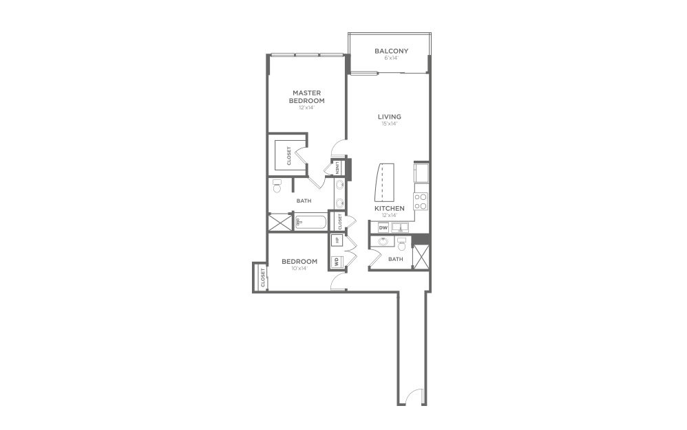 B5 - 2 bedroom floorplan layout with 2 baths and 1224 square feet.