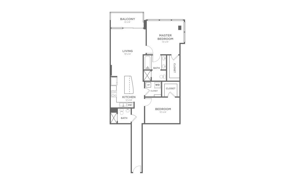 B6 - 2 bedroom floorplan layout with 2 baths and 1225 square feet.