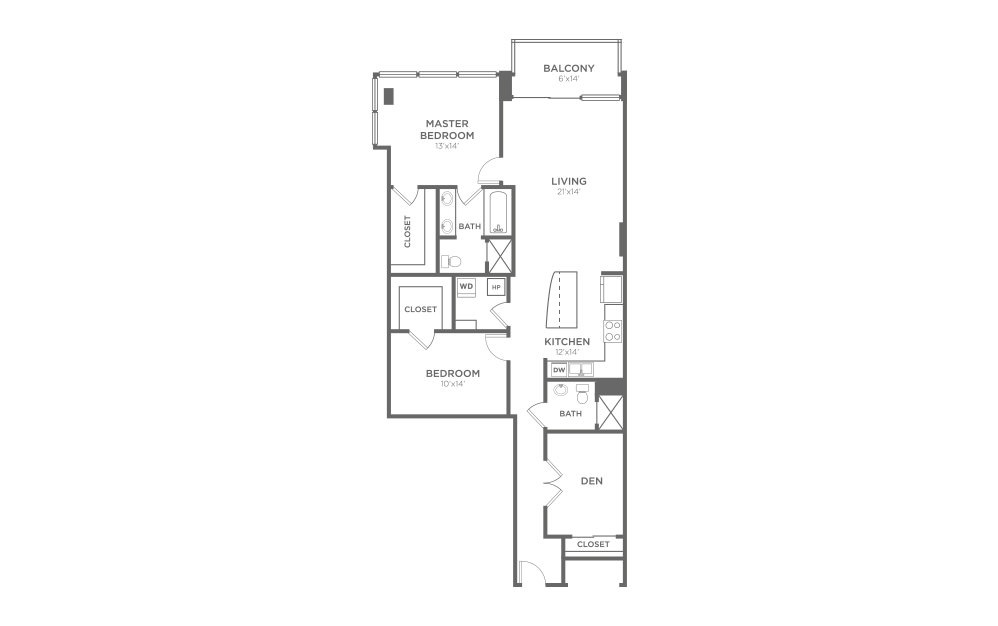 B8D - 2 bedroom floorplan layout with 2 baths and 1368 square feet.