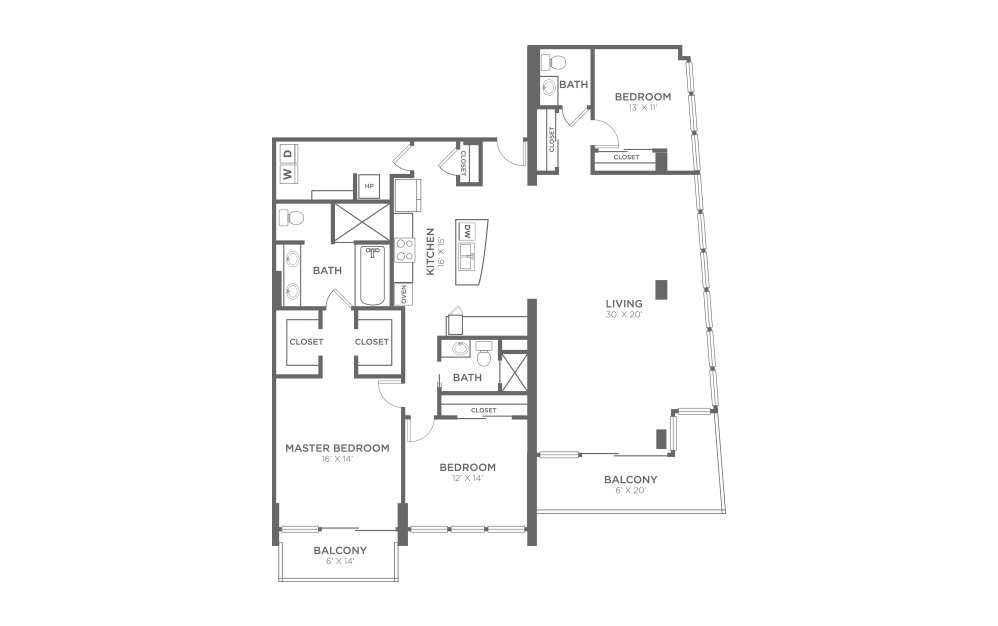 C1 - 3 bedroom floorplan layout with 2.5 baths and 2021 square feet.