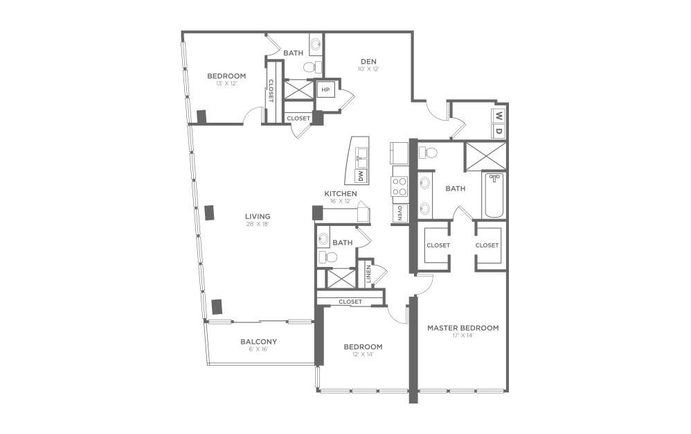 C2D - 3 bedroom floorplan layout with 3 baths and 2125 square feet.