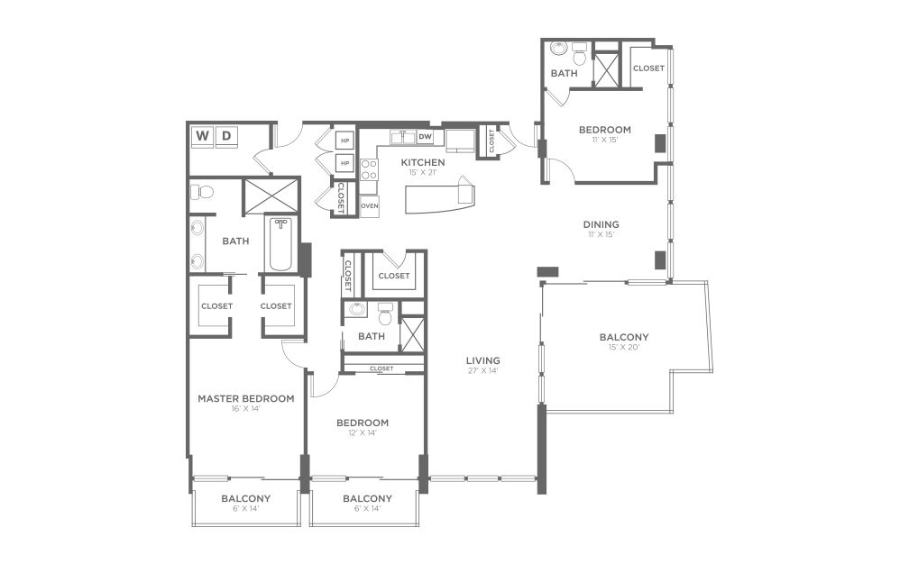 PH1 - 3 bedroom floorplan layout with 3 baths and 2265 square feet.