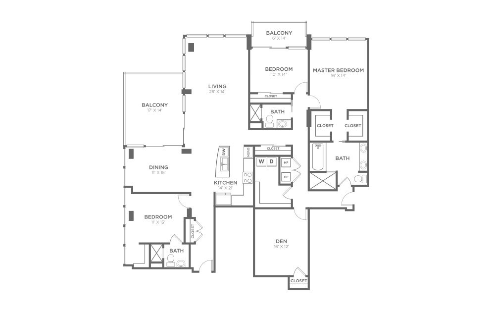 PH3 - 3 bedroom floorplan layout with 3 baths and 2500 square feet.