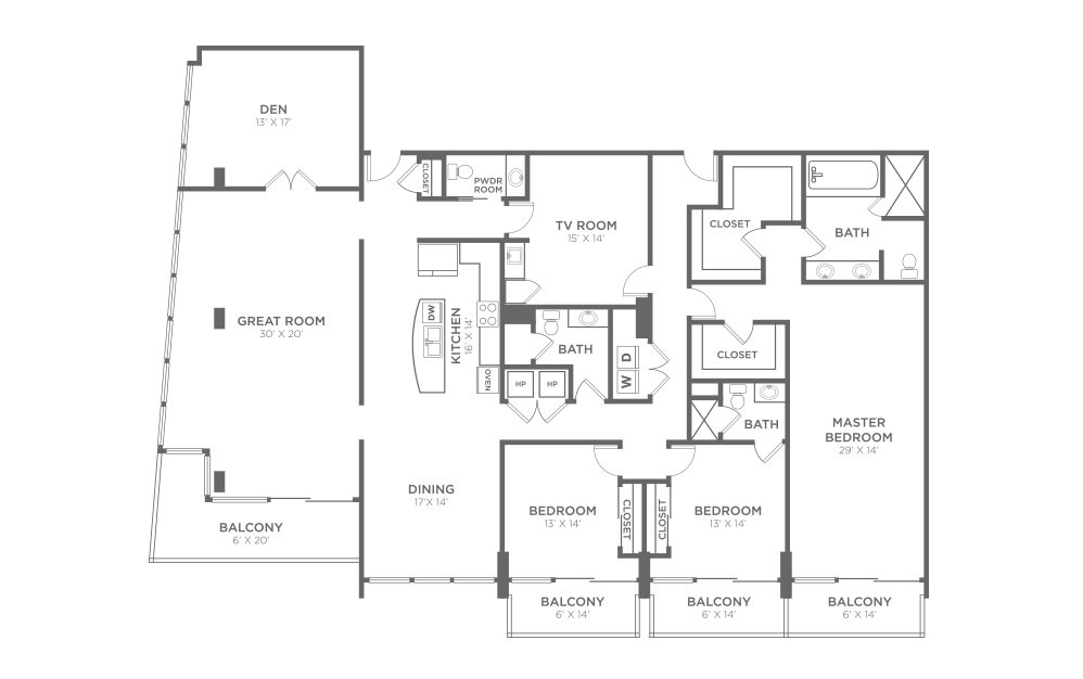 PH4D - 3 bedroom floorplan layout with 3 baths and 3218 square feet.