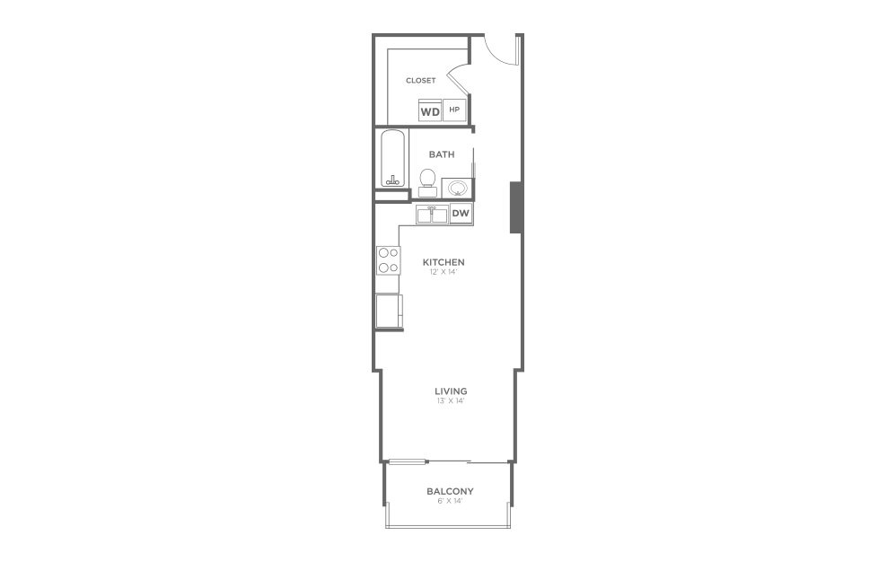 S1 - Studio floorplan layout with 1 bath and 571 square feet.