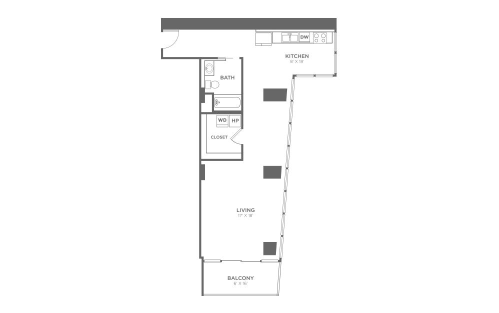 S3 - Studio floorplan layout with 1 bath and 830 square feet.