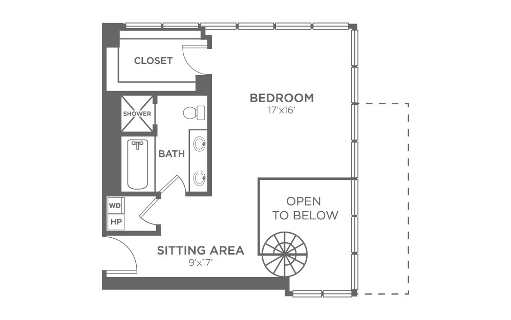 A12 - 1 bedroom floorplan layout with 2 baths and 1572 square feet. (Floor 2)