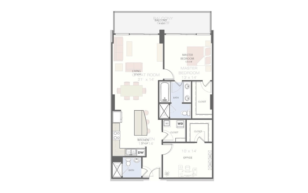 B1 - 2 bedroom floorplan layout with 2 baths and 1137 square feet.