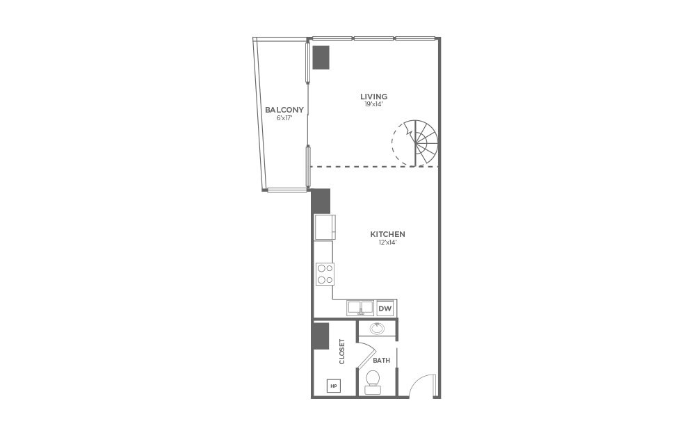 A2 - 1 bedroom floorplan layout with 1.5 bath and 978 square feet. (Floor 1)