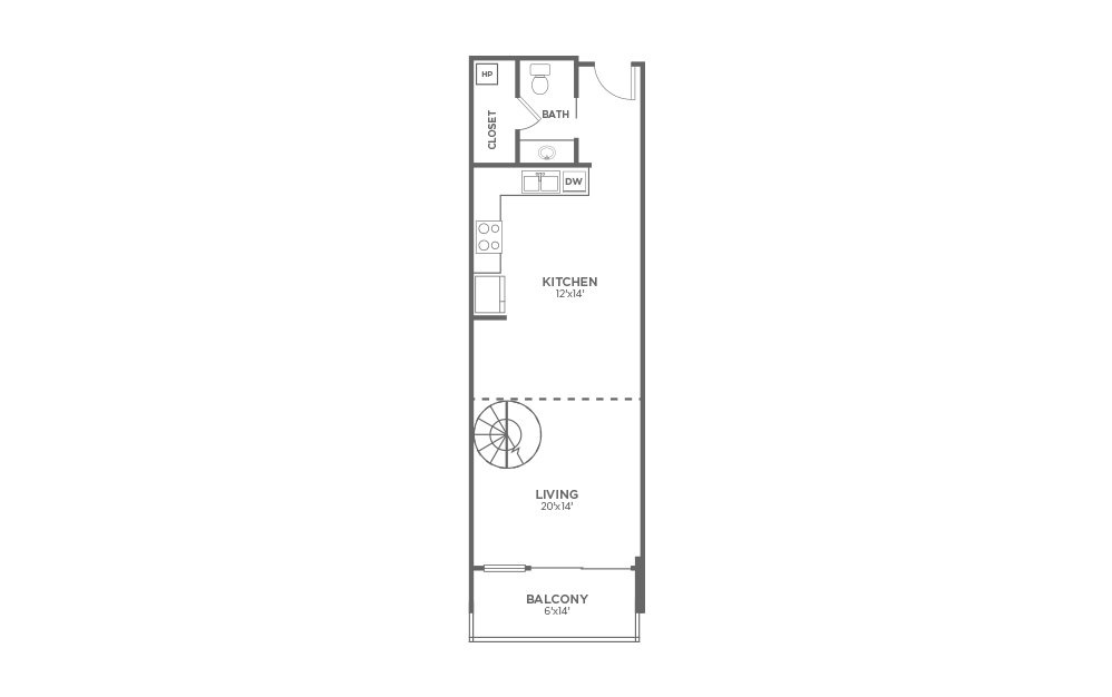 A4 - 1 bedroom floorplan layout with 1.5 bath and 1020 square feet. (Floor 1)