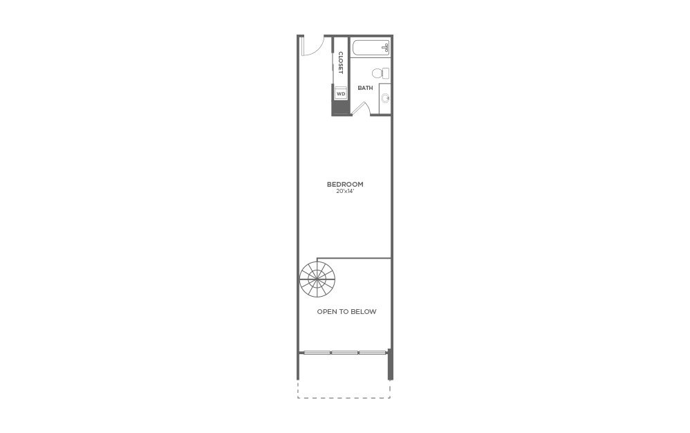 A4 - 1 bedroom floorplan layout with 1.5 bath and 1020 square feet. (Floor 2)