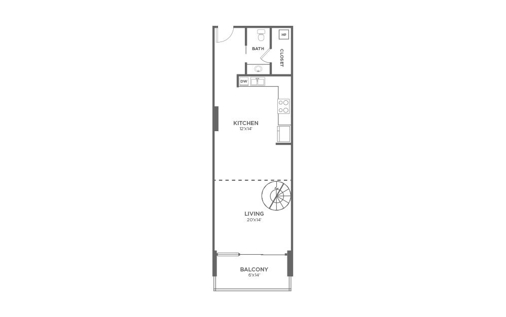 A6 - 1 bedroom floorplan layout with 1.5 bath and 1026 square feet. (Floor 1)