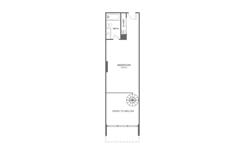 A6 - 1 bedroom floorplan layout with 1.5 bath and 1026 square feet. (Floor 2)