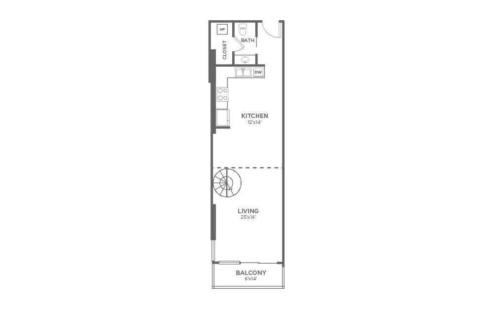 A8 - 1 bedroom floorplan layout with 1.5 bath and 1149 square feet. (Floor 1)