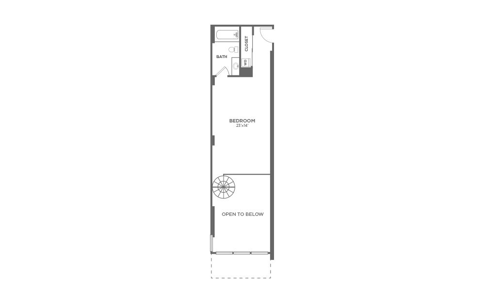 A8 - 1 bedroom floorplan layout with 1.5 bath and 1149 square feet. (Floor 2)