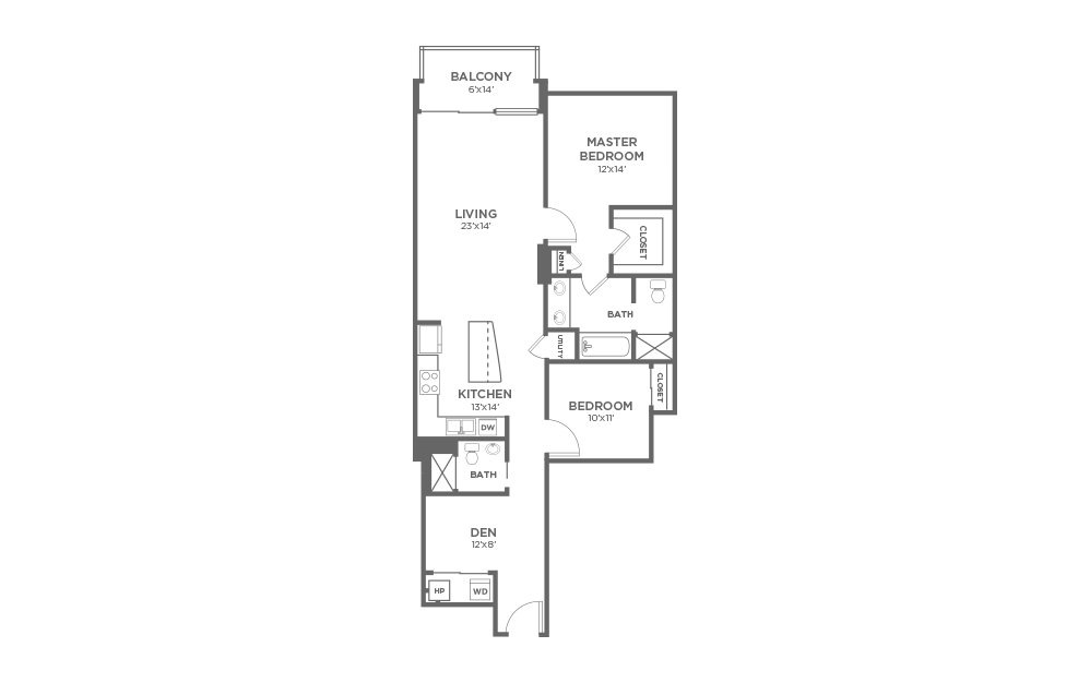B7D - 2 bedroom floorplan layout with 2 baths and 1337 square feet.