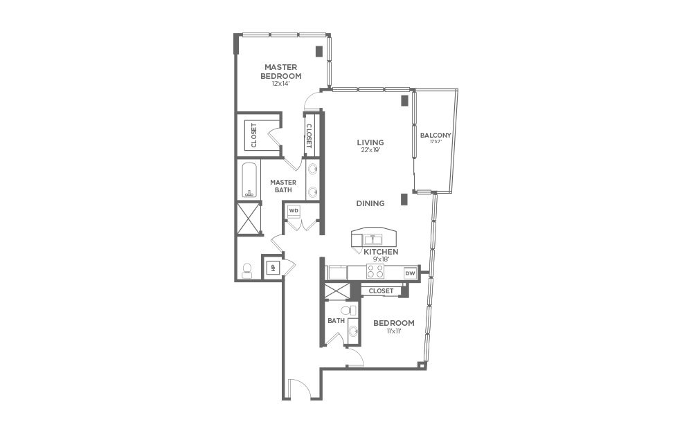 B9 - 2 bedroom floorplan layout with 2 baths and 1513 square feet.